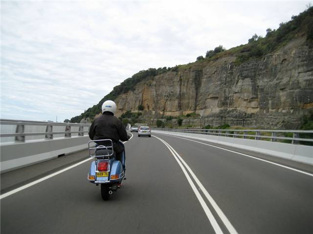 Tailing Pete on the blue PX along the Seabridge at Coalcliff